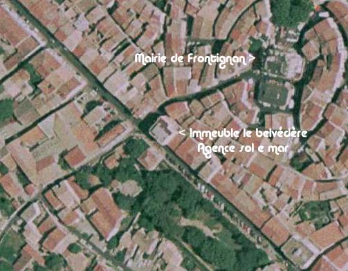 image satellite du centre ville de frontignan pour localiser l'agence immobiliere solemar de frontignan