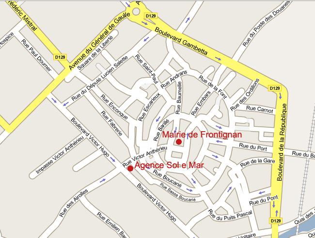 plan du centre ville de frontignan pour accéder à l'agence immobilière de frontignan sol e mar